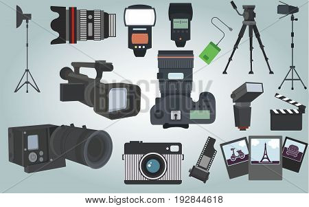 Colletion of  Photographer camera equipment with isolated objects