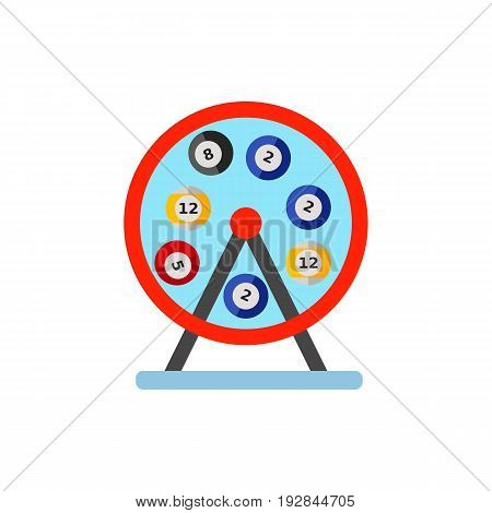 Vector icon of wheeling lotto machine. Lottery, bingo, fortune. Gambling concept. Can be used for topics like leisure, hobby, board games