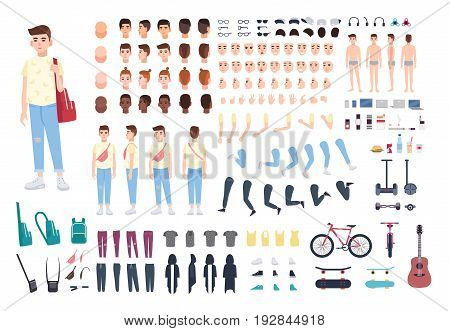 Teenager character constructor. Boy creation set. Different postures, hairstyle, face, legs, hands, clothes, accessories collection Vector cartoon illustration Front side back view