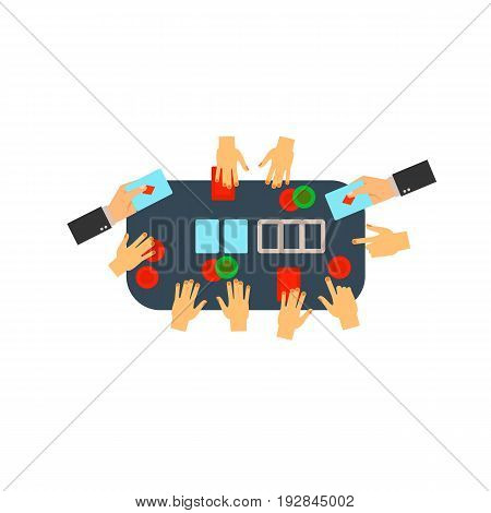 Vector icon of people playing poker at table. Poker, casino, competition. Gambling concept. Can be used for topics like addiction, leisure, hobby
