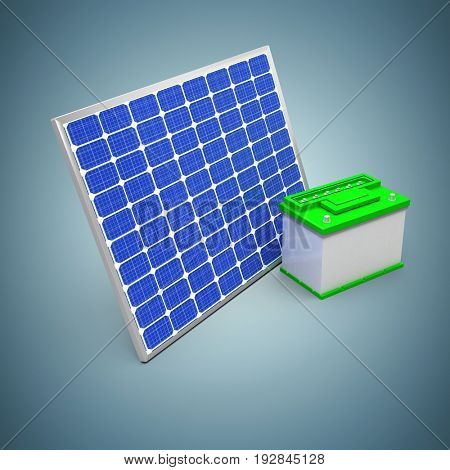 3d illustration of solar panel with battery against grey vignette