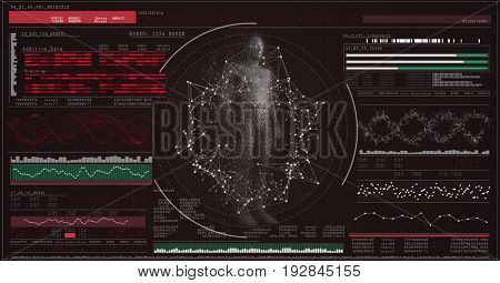 Pixelated digitally generated 3d male against genes diagram on black background