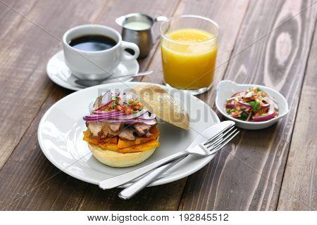 pan con chicharron, peruvian pork sandwich