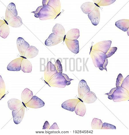 Watercolor hand drawn butterflies beautiful seamless pattern