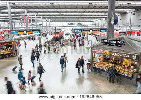 Passengers Crowded On The Platform Of Hauptbahnhof, The Main Railway Station