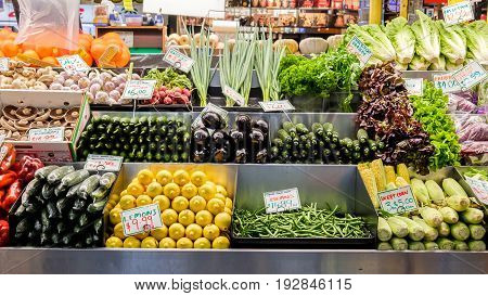Adelaide, Australia - November 12, 2016: Vegetables on display at Adelaide Central Market on a weekend. It's a popular tourist attraction in the CBD area and the most visited place in South Australia.