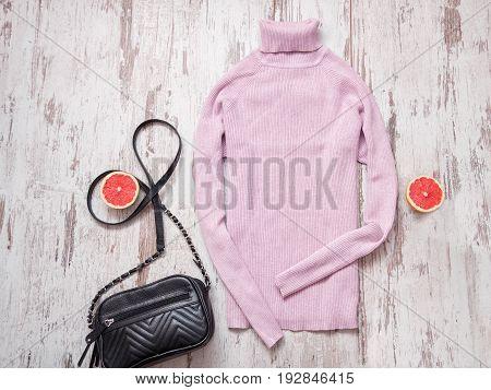 Lilac Turtleneck And Black Handbag, Fashionable Concept