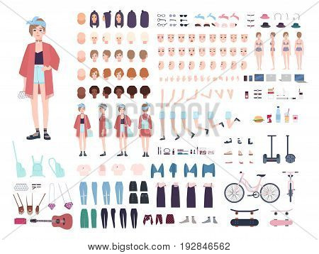 Teenager character constructor. Young trendy girl creation set. Different postures, hairstyle, face, legs, hands, clothes, accessories collection. Vector cartoon illustration Front side back view