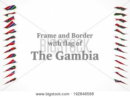 Frame And Border With Flag Of The Gambia. 3D Illustration