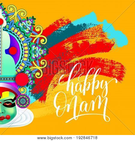 happy onam greeting card with indian kathakali dancer face and handwritten lettering on brush stroke background, vector illustration