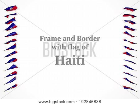 Frame And Border With Flag Of Haiti. 3D Illustration