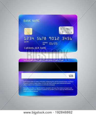 Realistic detailed credit cards set with colorful blue abstract design background. Front and back side template. Money, payment symbol. Vector illustration EPS10