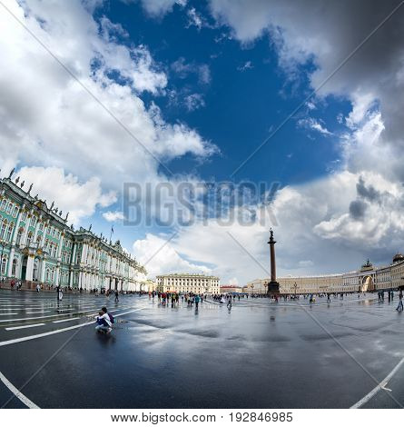 The Alexander Column In Front Of The Hermitage Museum, St Petersburg
