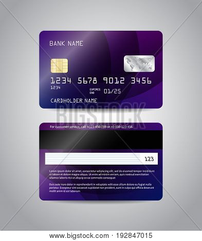Realistic detailed credit cards set with colorful purple abstract design background. Front and back side template. Money, payment symbol. Vector illustration EPS10