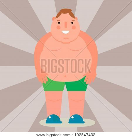 Fat man vector flat illustration overweight body person unhealthy big belly character. Caucasian fatness figure ugly male guy stomach design adult person