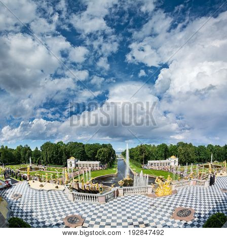View From Grand Peterhof Palace To Lower Park With Fountains, Golden Statues And Channel.