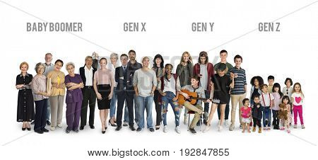 Diversity Generations People Set Together Studio Isolated