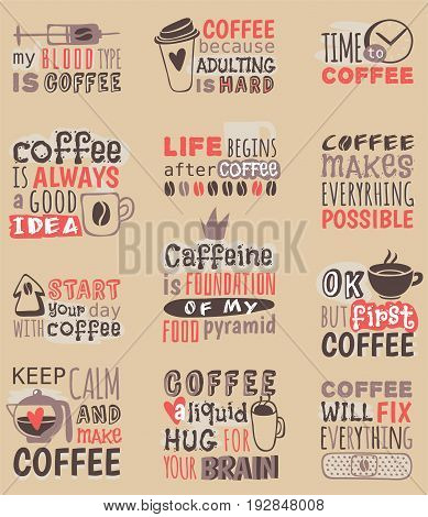 Hand drawn coffee restaurant love drink quote phrases motivation text badge vector. Decorative sticker drink product and retro banner emblem with cup. Vintage cafe menu design.