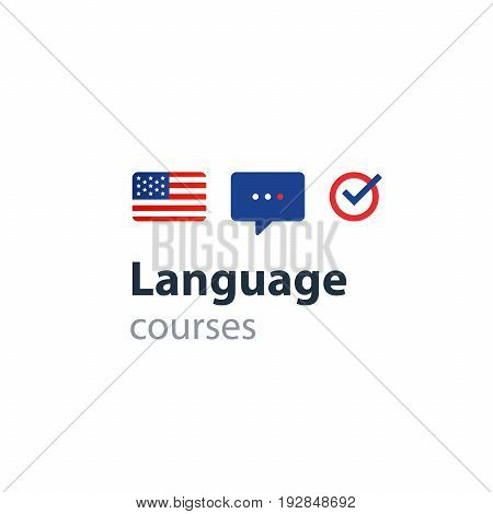 USA English language class concept icon set and flag logo, language exchange program, forum and international communication sign. Flat design vector illustration