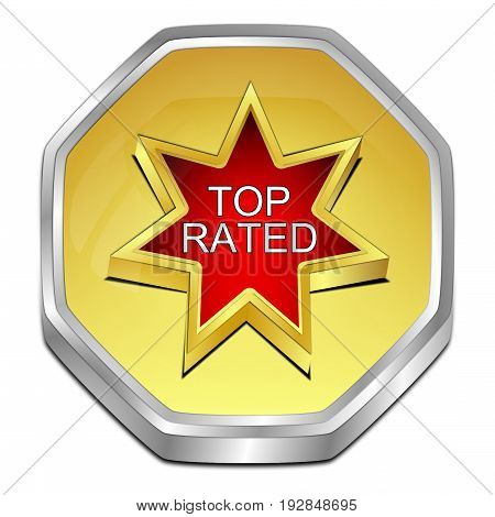golden red Top Rated Button - 3D illustration