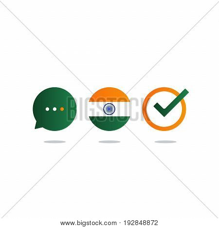 Indian language class concept icon set and flag logo, language exchange program, forum and international communication sign. Flat design vector illustration