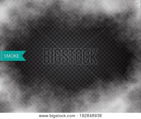 Fog or smoke isolated transparent effect. Mist smog element Vector.