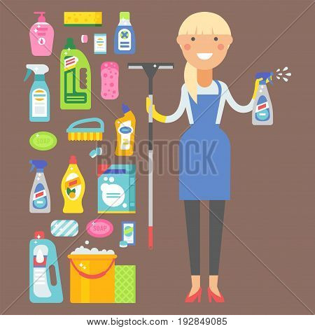 Cleanser bottle chemical housework product and woman care wash plastic equipment cleaning liquid flat vector illustration. Hygiene domestic container toiletries household tool.