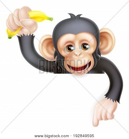 Cartoon chimp monkey like character mascot peeking above a sign holding a banana and pointing down