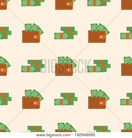 Purse wallet with money vector seamless pattern shopping buy business financial payment bag and accessory trendy cash wealth vector illustration. Female elegant trendy consumerism pocket.