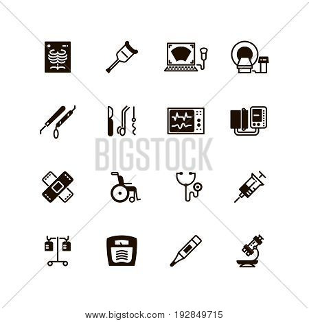 Medical devices and equipment vector icons. Medical tomograph and mrt, ultrasound equipment illustration