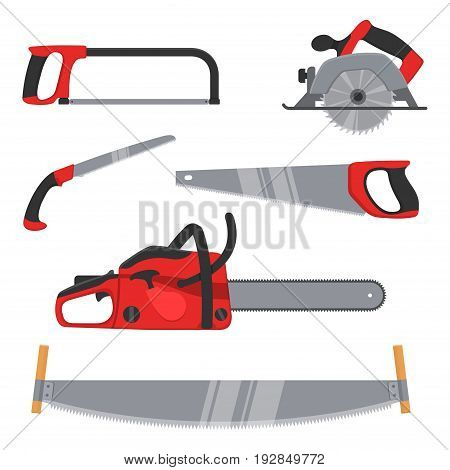 Lumberjack and woodworking tools icons isolated on white background. Axeman instruments saw set. Carpentry tools for sawing wood products. Timber industry vector illustration. poster