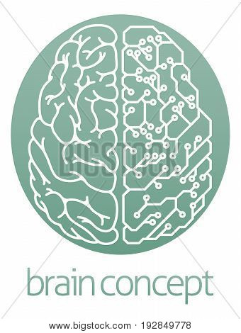 An abstract illustration of a brain half electrical circuit board circle concept design
