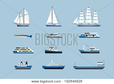 Water Transport - modern vector flat design icons set. Yacht, car carrier, passenger vessel, sailing, ensign ship, tugboat, motorboat, speed boat. Pierce through seas and oceans.