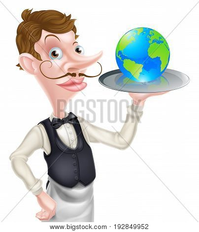 World food concept of a posh looking waiter holding a world globe