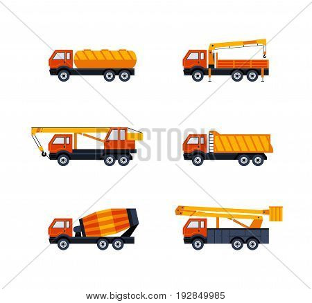 Construction Vehicles - modern vector flat design icons set. Dump, fuel, flat bed, pickup truck, cement mixer, crane, cherry picker. Heavy machinery to build cities, streets, towns.