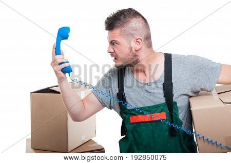 Mad Mover Man Holding Cardboard Box And Telephone Receiver