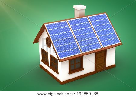 Digitally generated image of 3d house with solar panels against green vignette