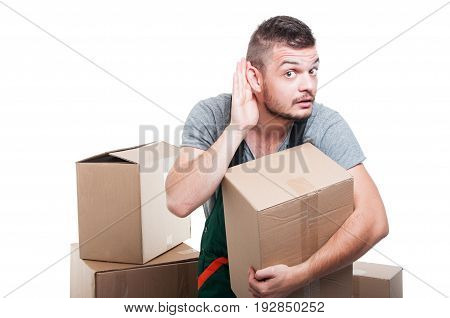 Mover Guy Holding Cardboard Box Making Can't Hear