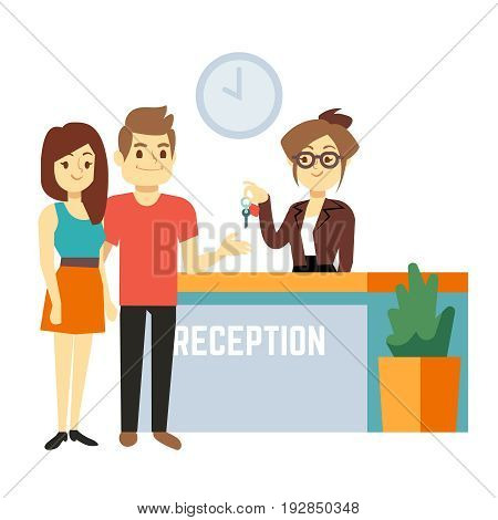 Young and happy couple at reception with smiling receptionist. Hotel reservation on holiday flat vector concept. Reservation hotel and travel tourism in hostel illustration
