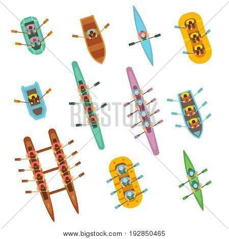 Top view rowing sport boats with team vector set. Water sport boat team, canoe and kayak rowing illustration