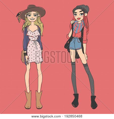 Fashion look girl beautiful girl woman female pretty young model style lady character glamour cute vector illustration. Attractive dress lifestyle sketch person.