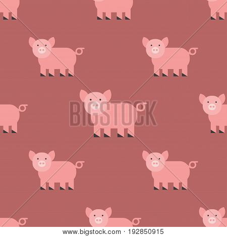 Cute pig cartoon animal seamless pattern farm mammal domestic piglet character vector illustration. Nature smile snout farming pet little rural piggy livestock