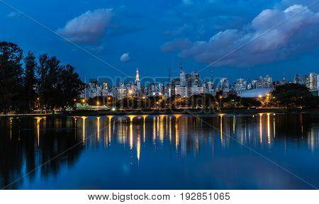 Sao Paulo skyline from Ibirapuera Park in Sao Paulo at night, Brazil