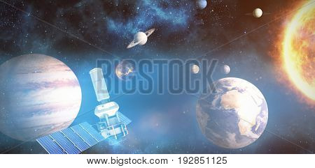 Digitally generated image of 3d modern solar power satellite against composite image of solar system against white background