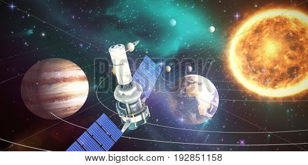 High angle view of 3d modern solar satellite against composite image of solar system against white background