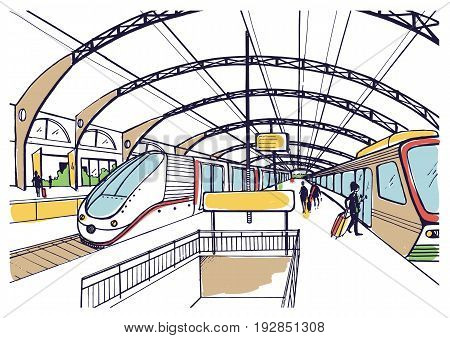 Colorful sketch with railway station. Hand drawn illustration with modern fast trains and passengers