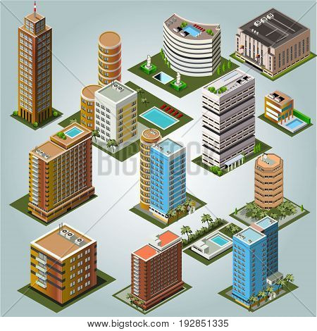 Urban isometric buildings  vector for your ideas