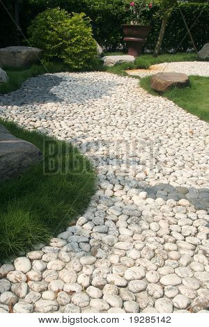 Pebble Stone path in an asian garden