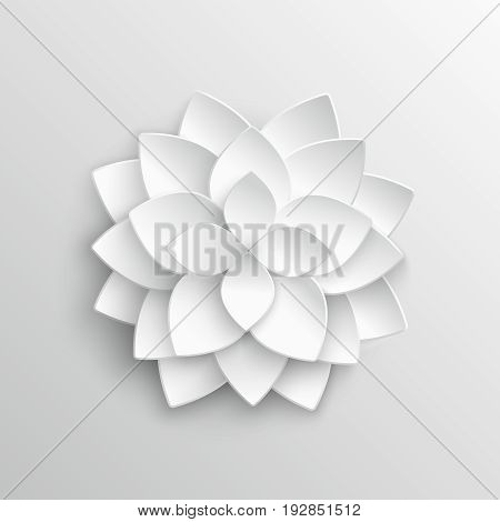 White paper 3d lotus flower in origami style vector illustration. Flower lotus paper, blossom flower decoration artwork