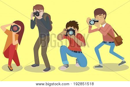 Colletion of four isolated Photographer characters vector